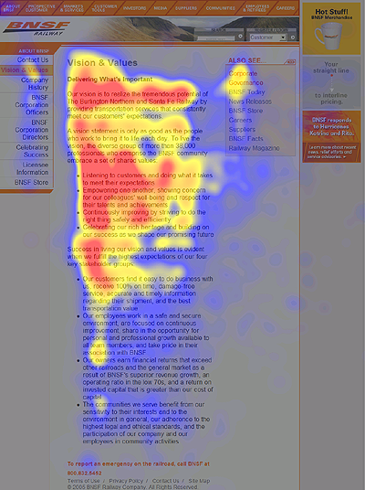 Eyetracking heatmap of the About Us page of a corporate website.