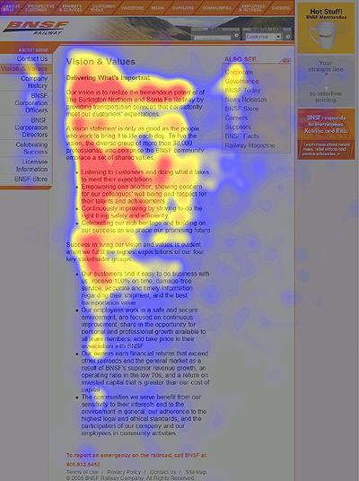 """一个公司网站的""""关于我们""""页面的视觉跟踪热图。"""