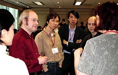 Jakob Nielsen meeting with attendees after his talk