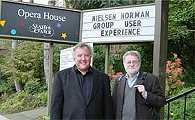 Photo of Tog and Don in front of the Opera House at the Seattle Center
