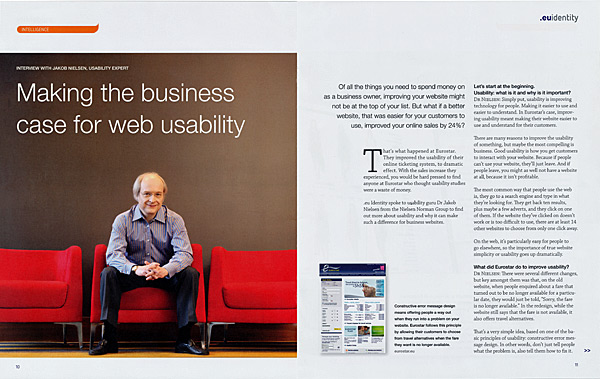 .eu Identity feature story first page spread